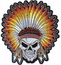 SKULL Indian Head Dress Motorcycle MC Embroidered Biker BACK Vest Patch LRG-0592