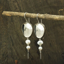 925 Sterling Silver Dangle Freshwater Pearl Earrings Bridal Handcrafted X395
