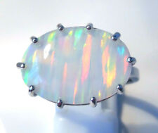 """GORGEOUS WHITE  FIRE OPAL   RING UK Size """"S"""" US 10"""