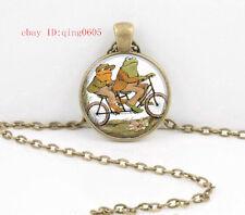 Vintage Frog  Cabochon Tibetan Bronze Glass Chain Pendant Necklace#T51