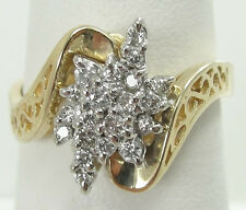 14K Yellow Plumb Gold Diamond Cluster Ring Size 6.5 .25 CTW Hearts Round Cut