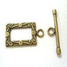 10 Sets Bronze Tone Rectangle Toggles Clasps - A6430