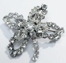 Bijou Vintage broche ancienne fleur cristaux diamant poire solitaire * 1983