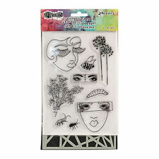 Dylusions by Ranger ~ Shattered Bits ~ Stamp & Stencil Set ~ Art Journaling NIP