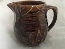 Early Mc Coy Mccoy Pottery Brown Glaze Lotus Water Lily Flower Small Jug Pitcher