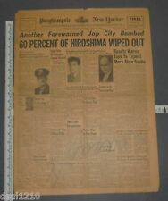 Poughkeepsie New Yorker Aug 8 1945 WW II Newspaper 1st Atomic Bomb on Hiroshima