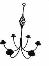 Black Wrought Iron 6 Arm Candle Chandelier BC USA Made