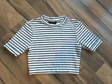 AUTHENTIC TOPSHOP WHITE & NAVY NAUTICAL STRIPED CROP TOP UK 8 EU 36 US 4 NR!