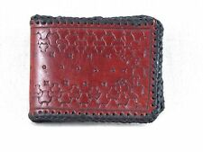 Men's Brown & Black Hand Tooled Leather Folding Wallet American Artisan Made