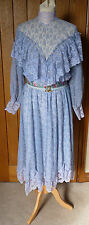 Vintage 1980s Blue Lace Mounted Dress Victorian Style Long Sleeves Size 12
