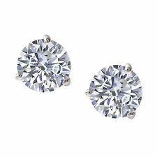 1 ct Round Martini Style Solid 14k White Gold Solitaire Stud Earrings Push Back
