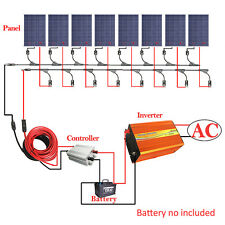 800W Off Grid Kit: 8*100W Solar Panel with 3KW Pure Sine Wave Inverter 12V Home