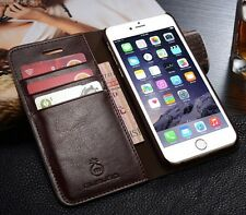Brown Genuine Leather Wallet Card Holder Stand Case Cover For iPhone 6 6S S001