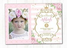 PRINCESS Birthday Invitation Pink and Gold Party Invite Floral Flower Photo Card