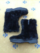 GUCCI MEN'S BLACK FUR TALL SNOW BOOTS UK 7 US 8 EU 41 MADE IN ITALY GG SOLE