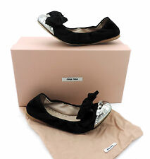 Miu Miu by Prada Ballerinas 36,5 schwarz Wildleder mit Strass Schuhe shoes top
