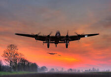 Lancaster Bomber -  ' A Welcome Sight ' War A3 Art Poster Print