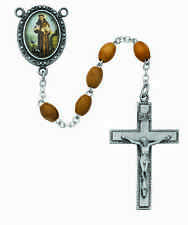 Rosary St. Francis Assisi Deluxe Pewter Rosary 6x8mm Olive Wd Bead Catholic Box