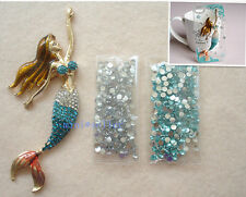diy cellphone case deco den kit 3D bling little mermaid alloy crystal flatback