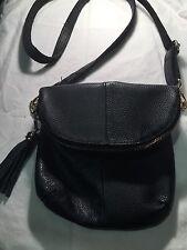 Black Leather Metal Tassle Disco Cross Body Shoulder Bag