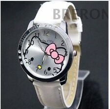 New Hello Kitty Cartoon Leather Diamond Watch Quartz Women/Girls Watch- White