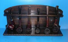 Smoking Pipe Antique Rack and SIX Estate Pipes Needing Attention.