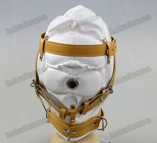 Soft Faux sheep goat Leather Bondage Hood Sensory Deprivation Full Covered Mask