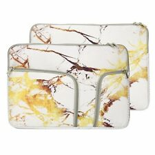 """13-Inch Marble White/Gold Handy Zipper Sleeve w./Pockets for 13"""" Laptop /Macbook"""