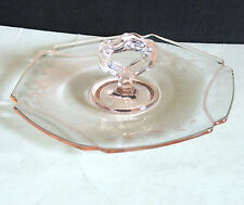 "Vintage Pink Depression Glass Plate Candy Dish w Center Handle 6.75"" FREE SH"
