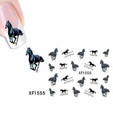 New Nail-Art Sticker Water Transfer Stickers Black Horse Decals Tips Decoration