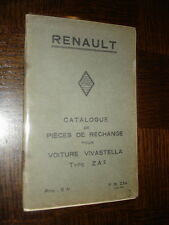 CATALOGUE PIECES DE RECHANGE - Renault Vivastella Type ZA 1934