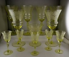 12 Pcs Elegant Depression Era Glass Stems Yellow Optic Bowl Etched Floral Glass