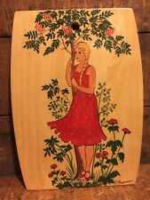 Traditional Russian Lacquer Painting Girl Red Dress Tree Wood Board Folk Art