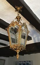 Vintage French Hall Porch Lantern Gilt Bronze Ceiling Light