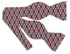 (1) BOW TIE - GRAPHITE ARGYLE - RED, GRAY, BLACK & WHITE