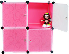 DIY Home Storage Cube Cabinet for Clothes Shoes, Bags, Office, Pink (4) Cubitbox