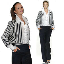 Oscar De La Renta Runway Striped  Jacket sz 10 USA