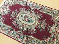 4' x 6' Red Aubusson French Oriental Rug Floral Medallion Hand Knotted Wool