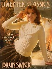 Brunswick 834 Sweater Classics Knitting Patterns Aran Argyle Scandinavian 1983