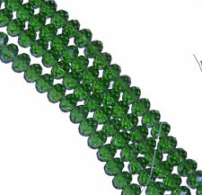 Green Transparent Luster Faceted 8mm Rondelle Beads 70 Pc Glass Crystal Beads