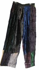 Nwt SACRED THREADS funky patch long velvet crinckled rayon PANTS 2X Free shipp