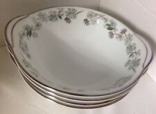 SET Of 4 NORITAKE China PINETTA 5689 Lugged Cereal Bowl Green Silver Pine Cones