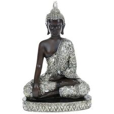 Meditating Thai Buddha Medium 26cm Silver Gold Statue Ornament Figurine