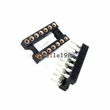 50PCS 14Pin DIP SIP Round IC Sockets Adaptor Solder Type Gold Plated Machined