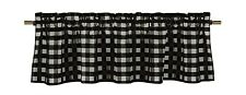 lovemyfabric Gingham Checkered Plaid Design Kitchen Curtain Valance-Black