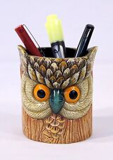 Hand Painted Gray Owl Pen Pencil Holder Container Face On Tree Trunk 409O
