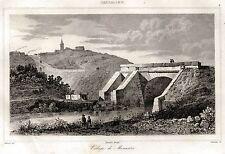 Monastir: Panorama. Basso Campidano.Cagliari.Sardegna.Acciaio.Stampa Antica.1839