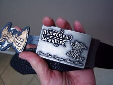 NWT Budweiser Lager Beer reversible belt black/brown leather silver buckle sz 36