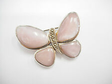 Vintage Sterling Silver Pink Mother Of Pearl Marcasite Butterfly Brooch #1747