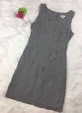 Ann Taylor black & white gingham plaid party casual dress sleeves SZ 6 A Retro